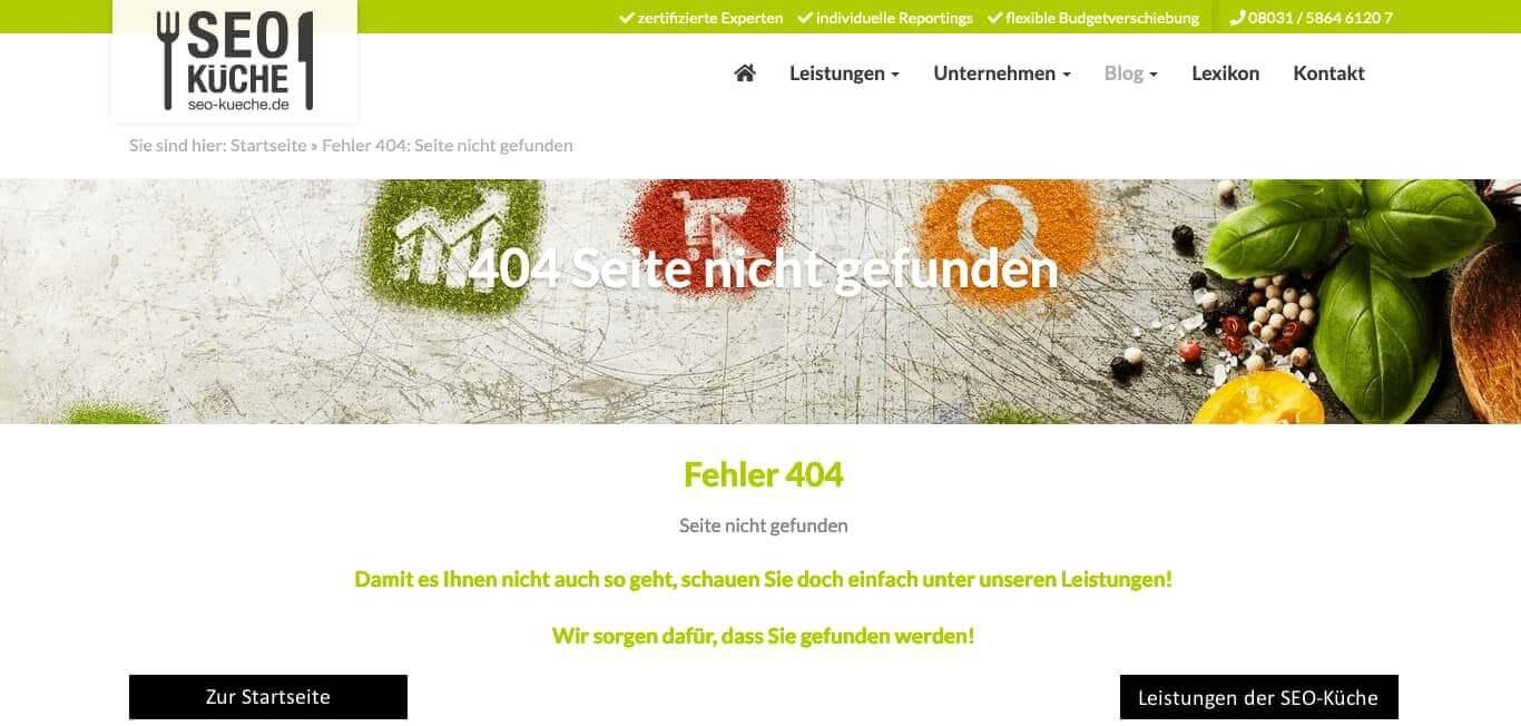 404 Fehler Seite Beispiel
