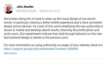 Autorenbilder verschwinden aus der Google Suche