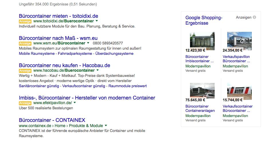 Beispiel Suchmaschinenanzeigen Google