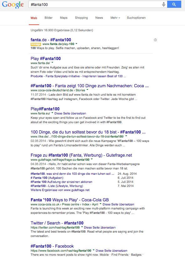 google Ergebnisse #Fanta100