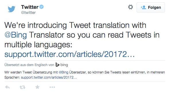 Auf Twitter können fremdsprachige Tweets übersetzt werden