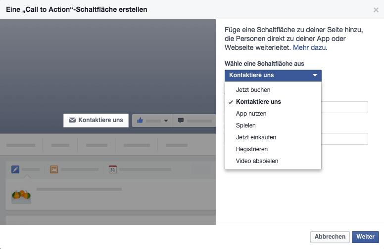 Mögliche Facebook Call to Action Schaltflächen