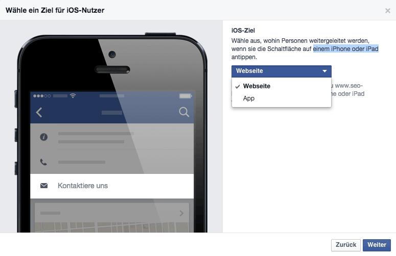 iOS Ziel festlegen auf Facebook