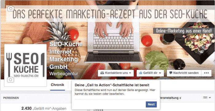 Fertige Call to Action Schaltfläche auf der Facebookseite der SEO Küche