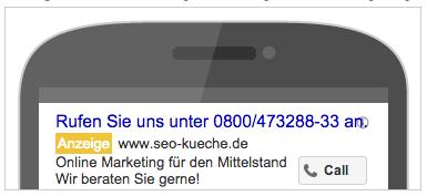 Nur Anruf Anzeigen bei Google AdWords