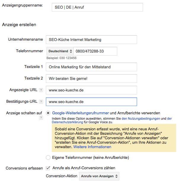 Google AdWords Call only Anzeige einrichten