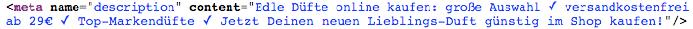 Meta Descriptions welche im HTML-Code der Webseite eingebunden werden