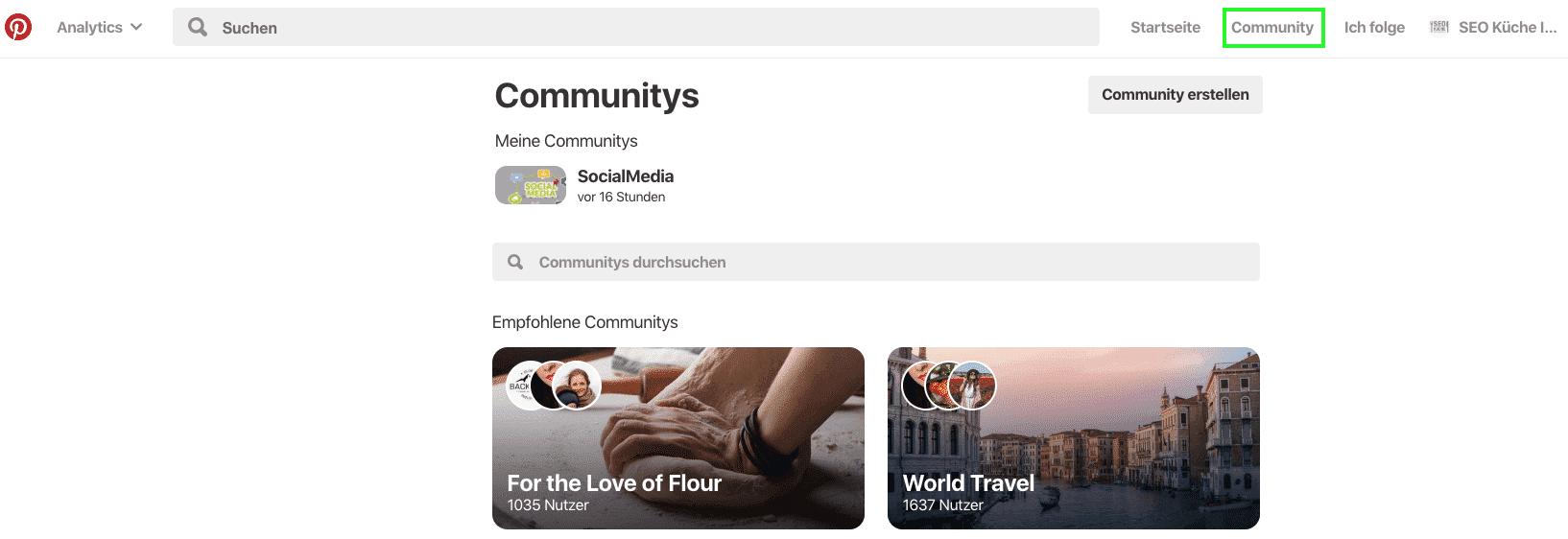 Pinterest Community anlegen