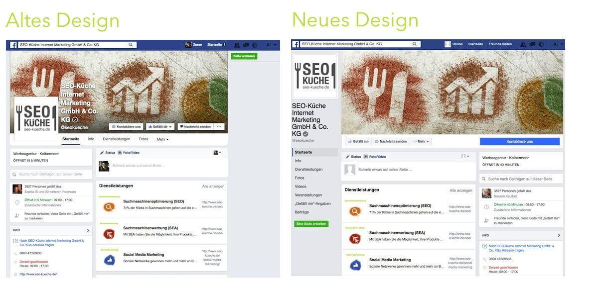 Redesign für Unternehmensseiten auf Facebook