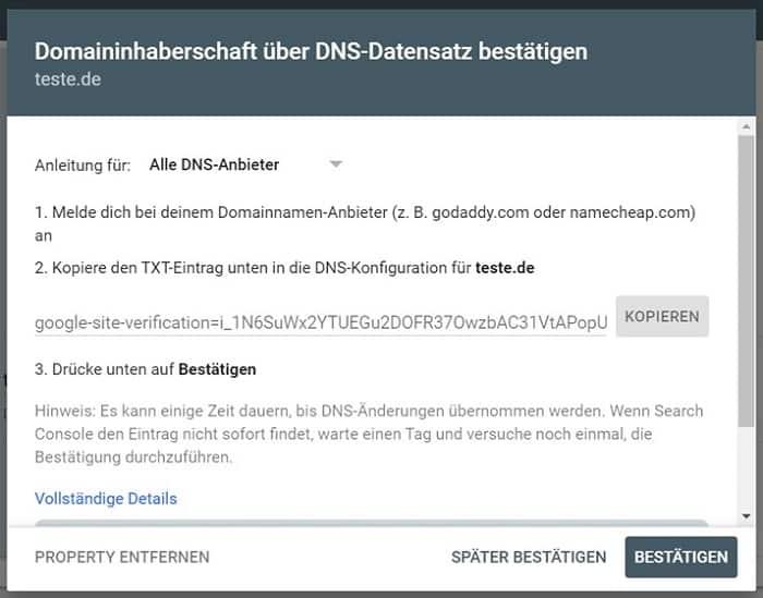 domaininhaberschaft dns search console