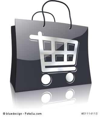 Einkaufstasche Schwarz-Silber-Serie: Einkaufswagen