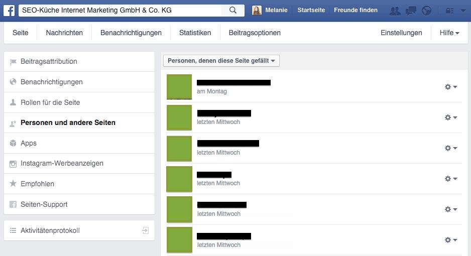 Alle Fans einer Facebookseite anzeigen