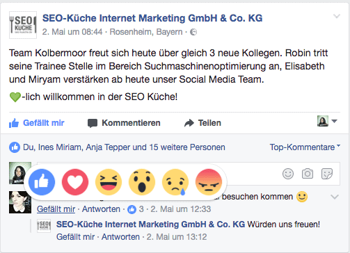 Social Media Rückblick Mai 2017: Auf Facebook Kommentare mit Reactions reagieren