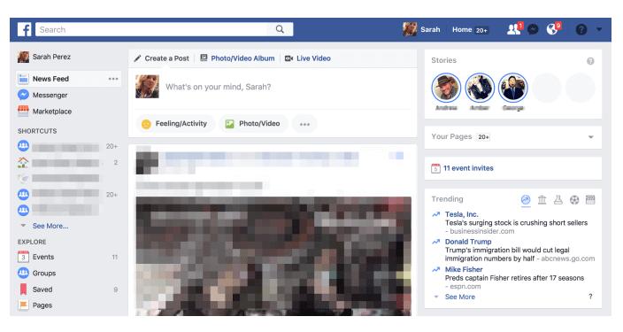 Facebook Story auf dem Desktop