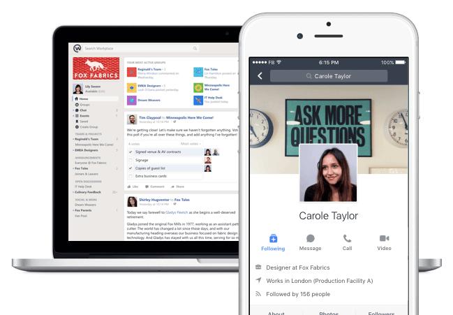 Facebook Workplace in neuem Design