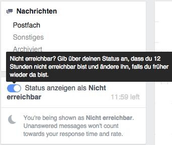 Facebook Meldung wenn man nicht erreichbar ist