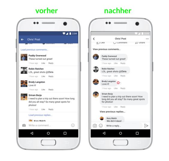 Neues Design für Kommentare auf Facebook