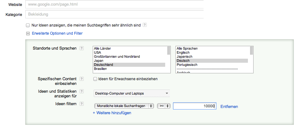 Filtermöglichkeiten Keyword Tool