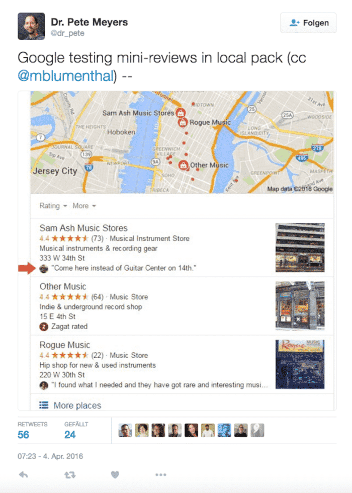 1) Anzeige von Bewertungssternen inkl. Review im Local Pack