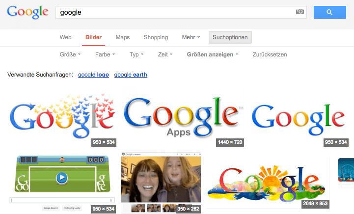 Google Bildersuche Groessen Anzeigen
