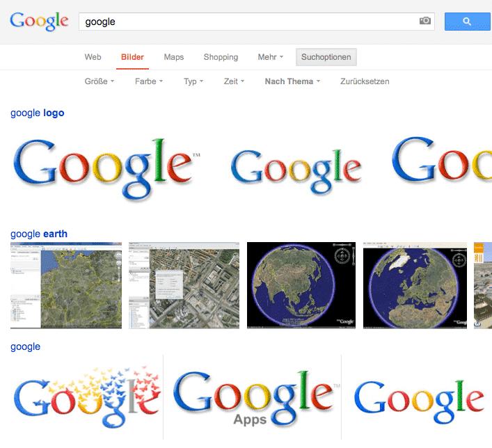 Nach Thema, Google Bildersuche
