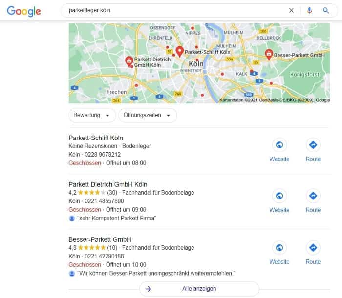 Google Local SEO Handwerker
