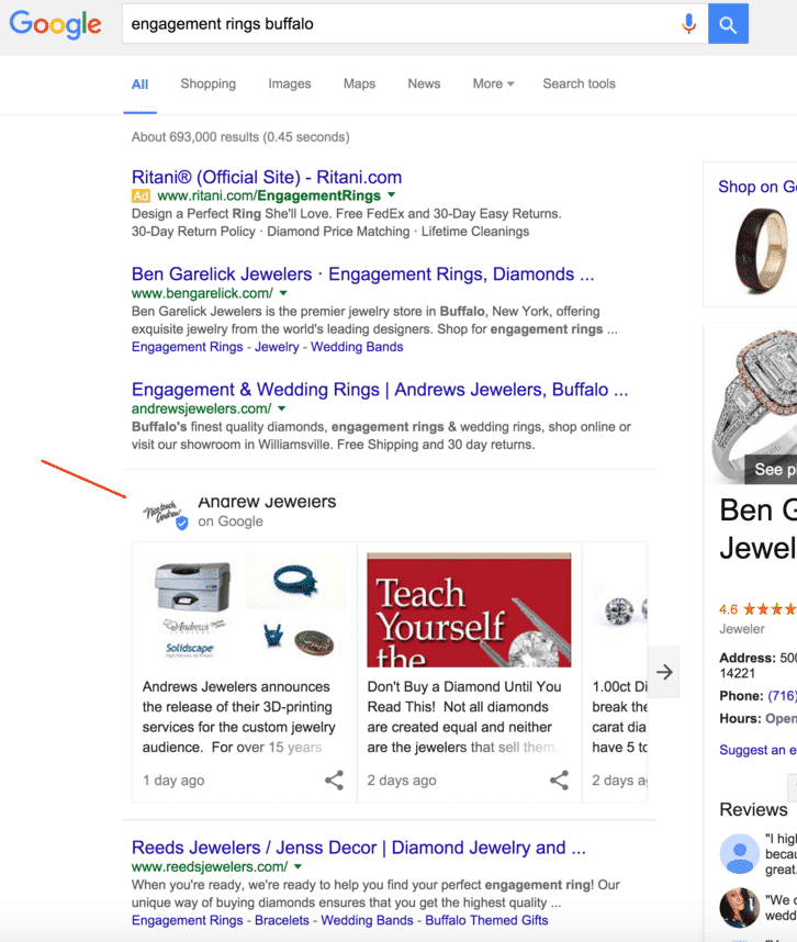 Google teste Postings in den SERPs