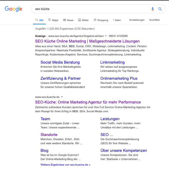"""Google-Suche des Suchbegriffs """"SEO-Küche"""""""