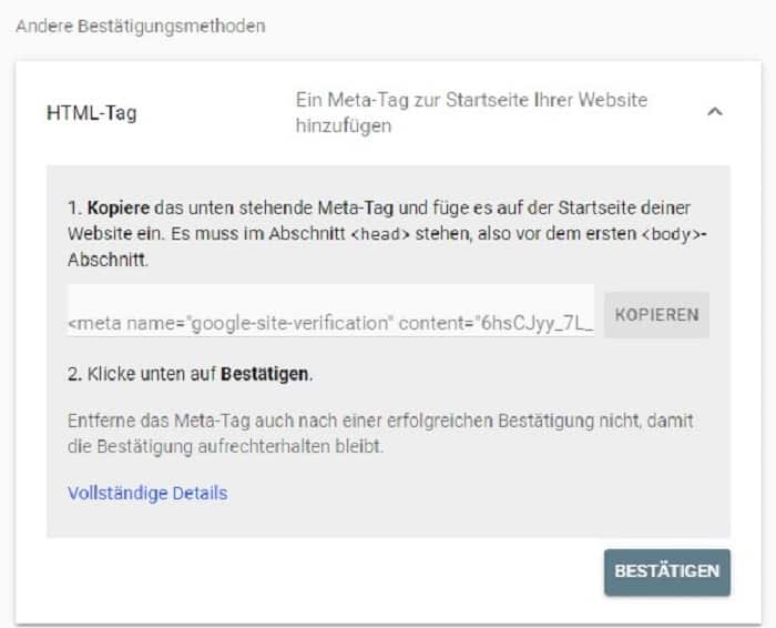 html tag search console inhaberschaft