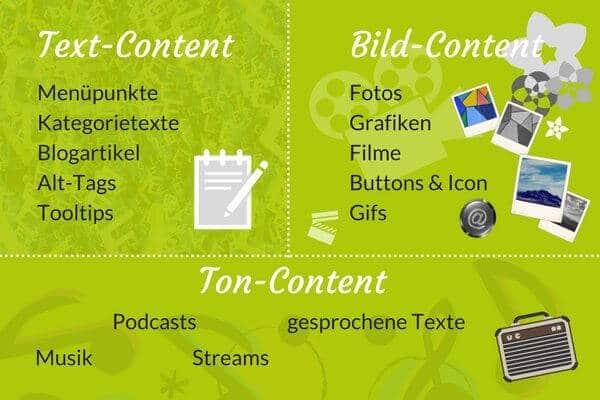 Content - die Bereiche und was dazugehört.