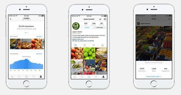 Das neue Unternehmensprofil auf Instagram bietet auch Statistiken