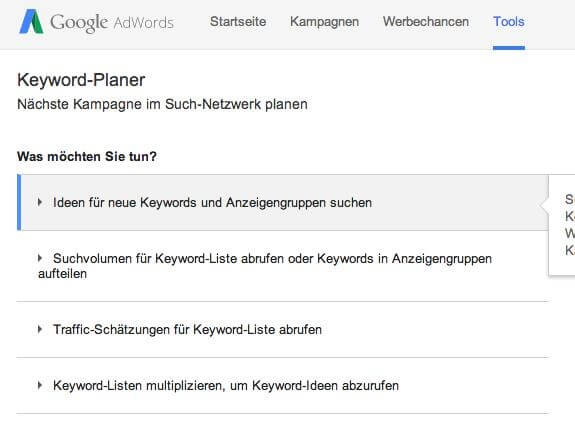 Keyword Planer BILD I
