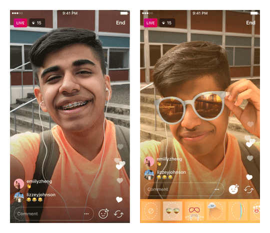 Instagram Filter für Live Videos