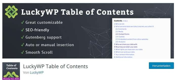 lucky wp table of contents