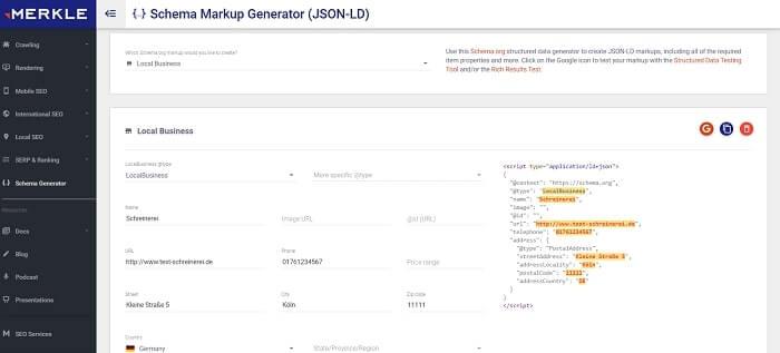 Markup-Generator für Local Business Markup