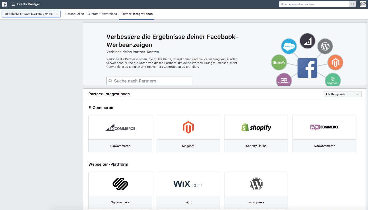 Partner Integration auf Facebook