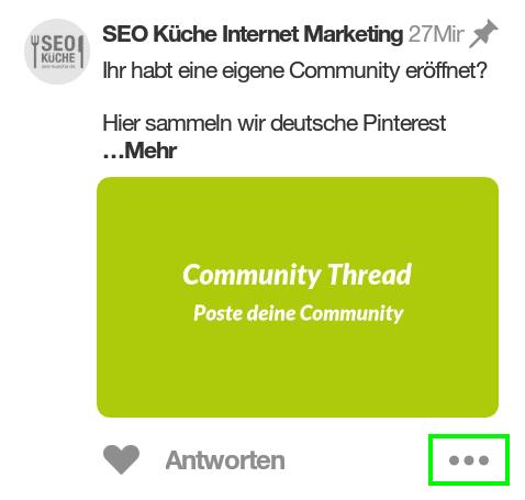 Beiträge in Pinterest Community fixieren