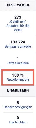 Facebook Reaktionsquote
