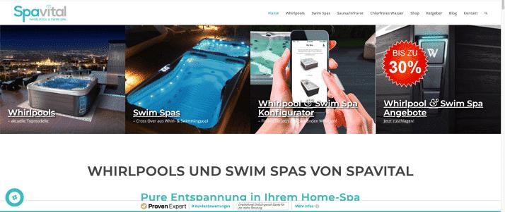 Bild der Startseite unseres Kunden Spa-vital.de als Referenz für unsere Leistungen und Erfolge