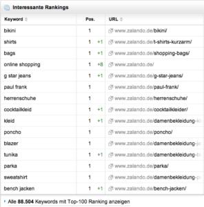 Interessante Keywords in Sistrix