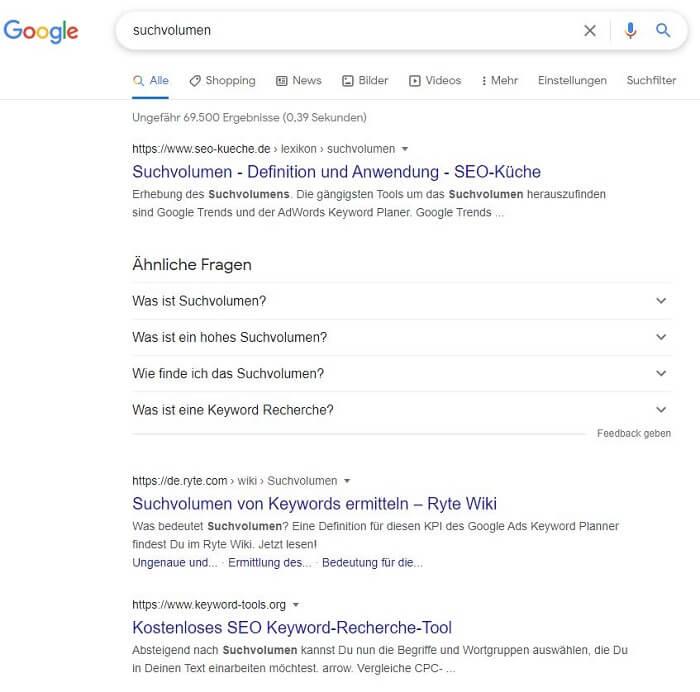 suchergebnisse google top platzierung