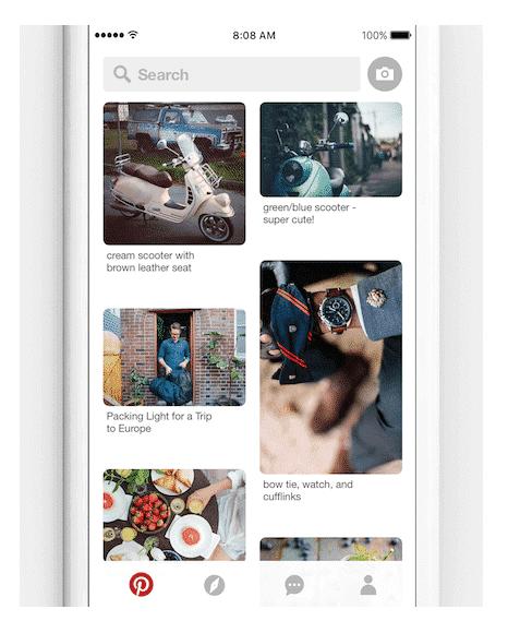 Neue Suchleiste auf Pinterest