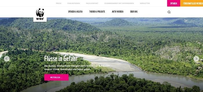 Website der Hilfsorganisation WWF