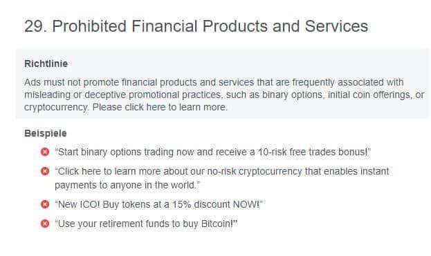Werberichtlinien auf Facebook für Finanzprodukte
