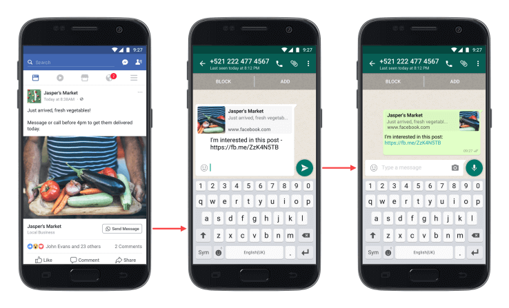 Whatsapp Button in Facebook Anzeigen