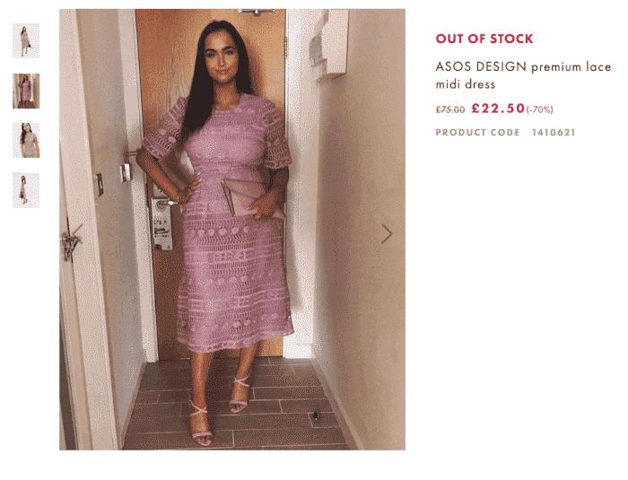 asos produktseite mit tinder kleid