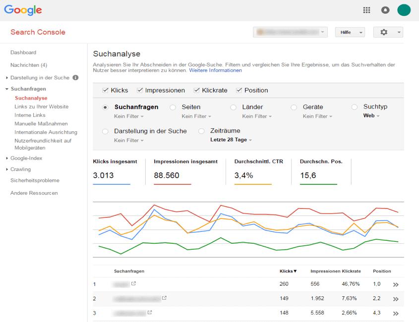 Content-Optimierung mit der Google Search Console Screenshot 2