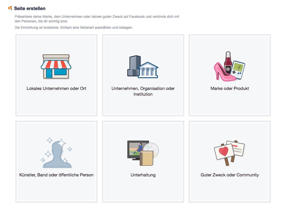 facebook fanpage kategorie wählen