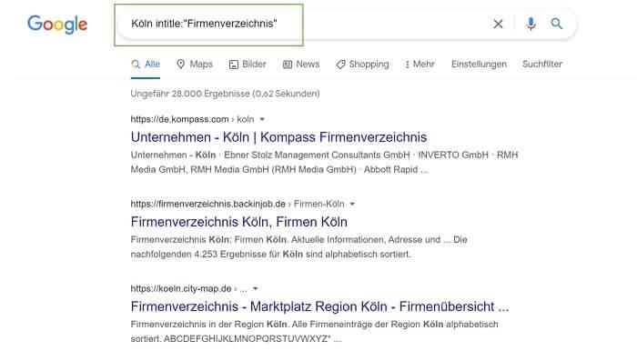 """Search Operator """"intitle"""" für die Suche nach geeigneten lokalen Verzeichnissen."""