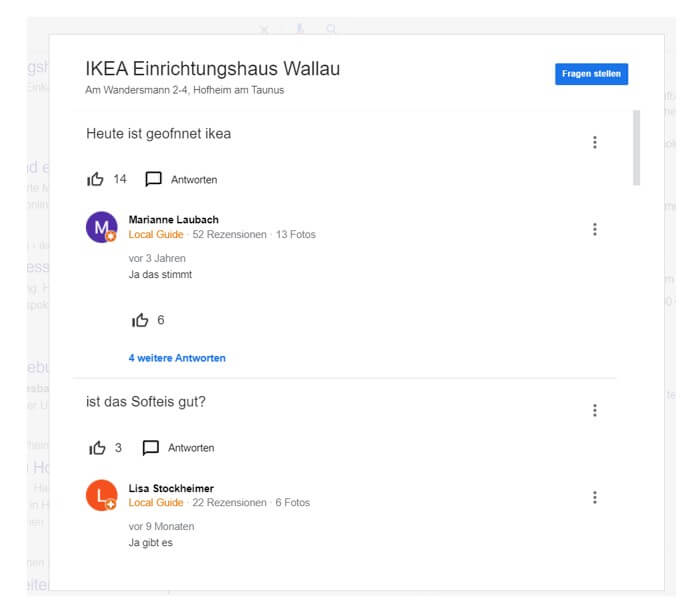 Fragen und Antworten bei Google My Business.